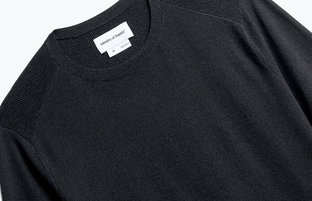 close up of men's charcoal static atlas crew neck sweater shot of front