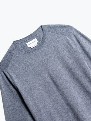 close up of men's indigo static atlas crew neck sweater shot of front