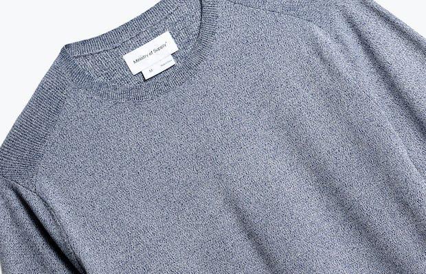 close up of men's indigo static atlas crew neck sweater shot of front
