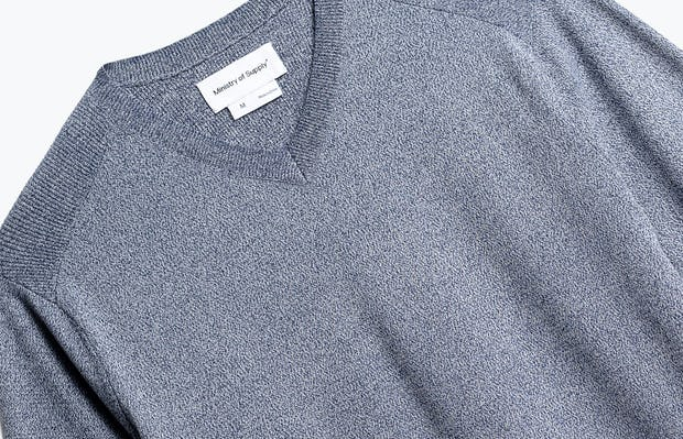 close up of men's indigo static atlas v-neck sweater shot of front