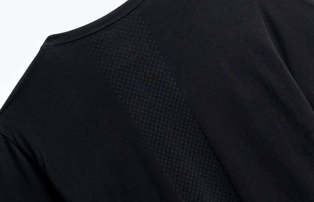 close up of men's black atlas crew neck tee shot of back