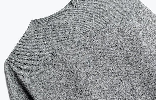 close up of men's grey static atlas v-neck sweater shot of back