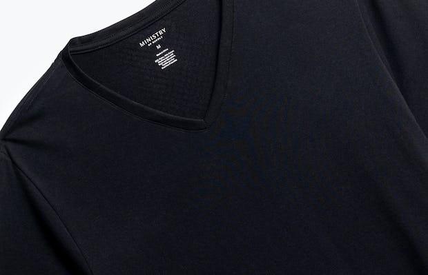 close up of men's black atlas v-neck tee shot of front