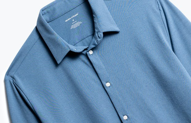 Close up of Composite Dress Shirt in Storm Blue Front