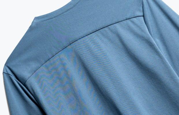 Close up of Men's Composite Merino Henley in Storm Blue back