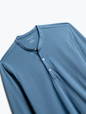 Close up of Men's Composite Merino Henley in Storm Blue