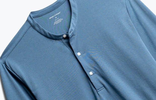 Close up of Men's Composite Merino Henley in Storm Blue
