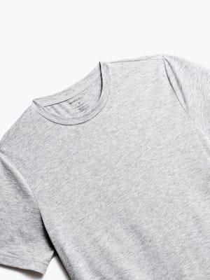 close up of men's pale grey heather composite merino tee shot of front