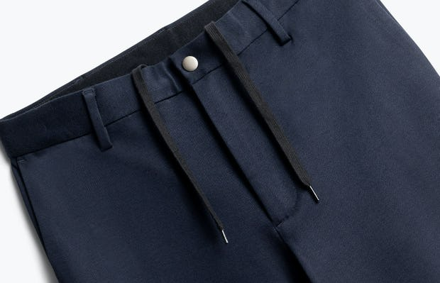 close up of men's navy fusion pant shot of front
