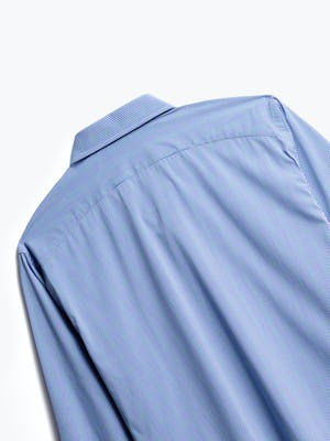 close up of men's blue on blue grid gemini button down shot of back