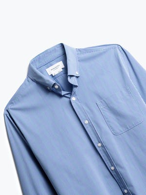 close up of men's blue on blue grid gemini button down shot of front
