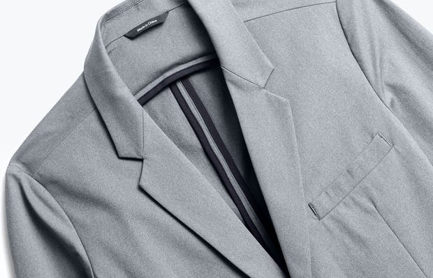 close up of men's grey heather kinetic blazer shot of front