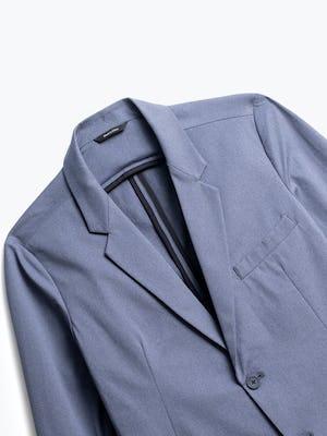 close up of men's indigo heather kinetic blazer shot of front