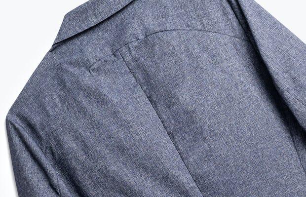 close up of men's heather blue kinetic dot air blazer shot of back