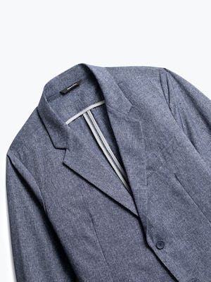 close up of men's heather blue kinetic dot air blazer shot of front