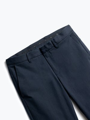close up of men's navy kinetic pant shot of front