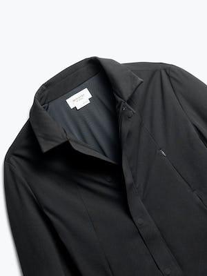 close up of men's black kinetic town coat shot of front no hood