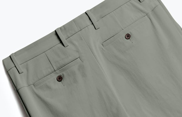 close up of men's olive men's momentum chino shot of back