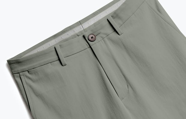 close up of men's olive men's momentum chino shot of front