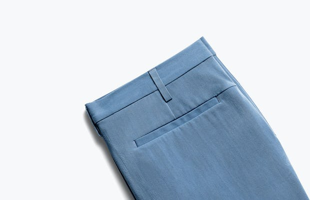 close up of men's storm blue men's momentum chino short shot of back