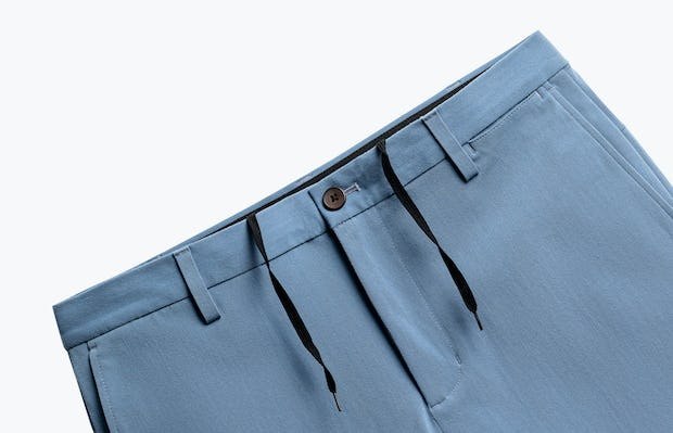 close up of men's storm blue men's momentum chino short shot of front