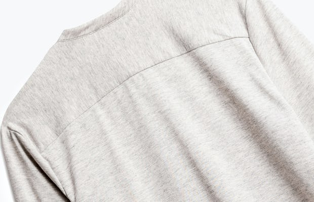 close up of men's grey heather composite merino henley shot of back
