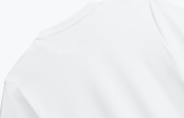 close up of men's white responsive crew neck tee shot of back