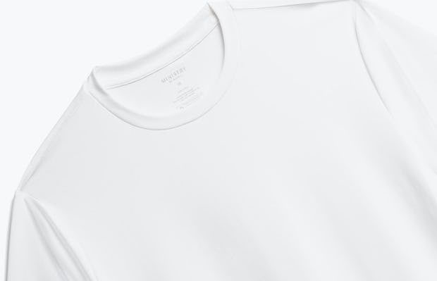 close up of men's white responsive crew neck tee shot of front