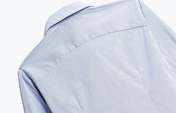 Close up of Women's Blue Stripe Aero Dress Shirt Back