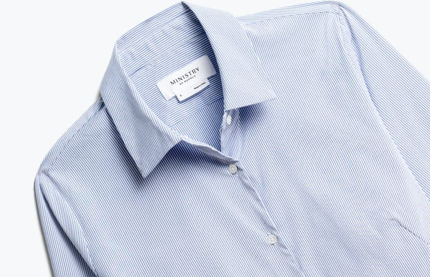 Close up of Women's Blue Stripe Aero Dress Shirt Front