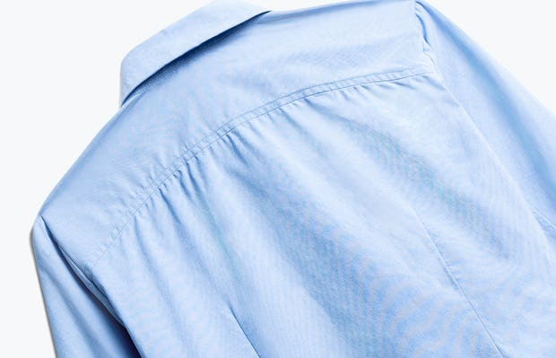 Close up of Women's Solid Blue Nylon Aero Dress Shirt Back