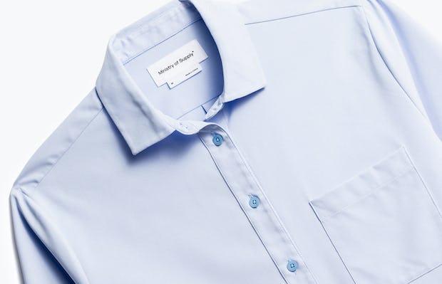 Close up of Womens Light Blue Aero Zero Boyfriend Shirt - Front