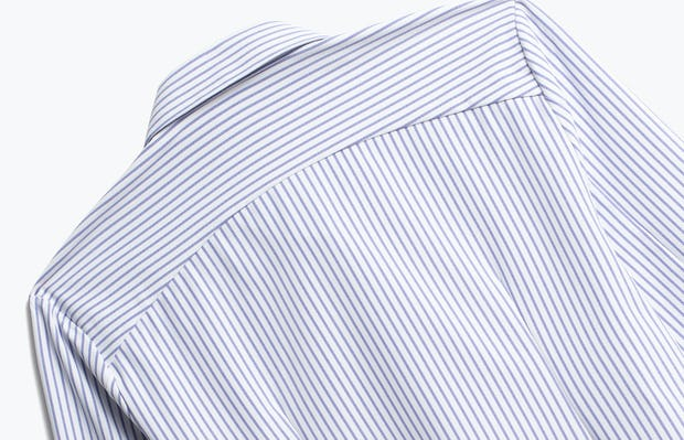 Close up of Womens Blue Stripe Aero Zero Dress Shirt - Back