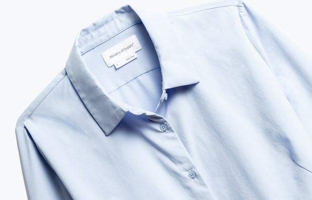 Close up of Womens Light Blue Aero Zero Dress Shirt - Front