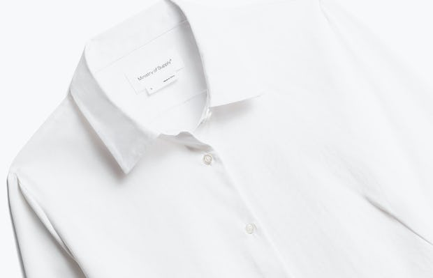 Close up of Womens White Aero Zero Dress Shirt - Front