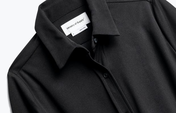 Close up of Womens Black Apollo Tailored Shirt - Front