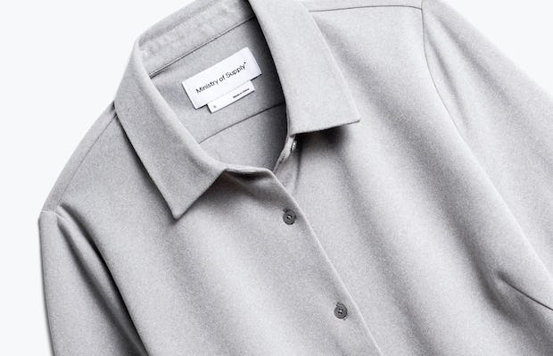 Close up of Womens Grey White Heather Apollo Tailored Shirt - Front