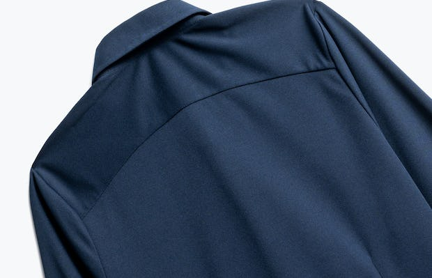 Close up of Womens Navy Apollo Tailored Shirt - Back