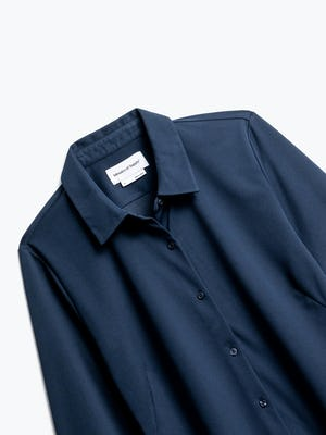 Close up of Womens Navy Apollo Tailored Shirt - Front