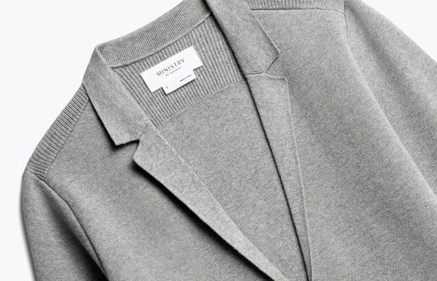 Close up of Womens Light Grey Atlas Knit Blazer - Front