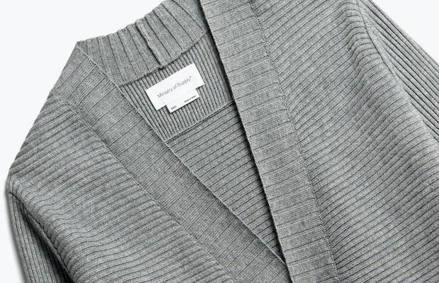 Close up of Womens Light Grey Composite Merino Cardigan - Front