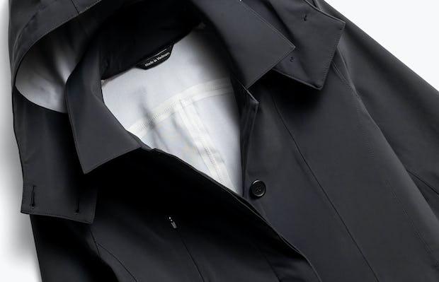 Close up of Womens Black Doppler Mac Jacket - Front