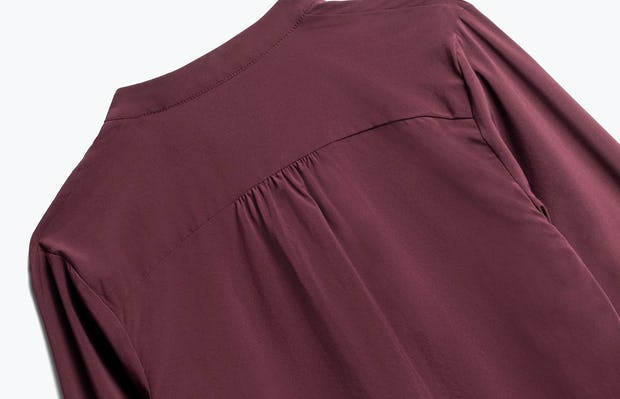 Close up of Womens Burgundy Juno Patch Pocket Blouse - Back