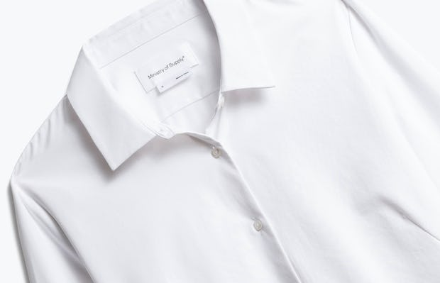Close up of Womens White Juno Tailored Dress Shirt Recycled- Front