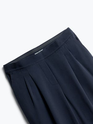 Close up of Womens Navy Swift Drape Pant - Front