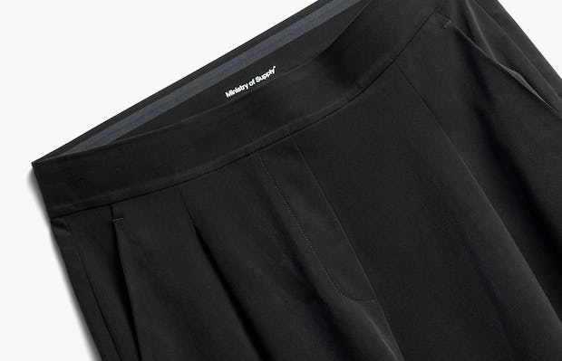 Close up of Womens Black Swift Wide Leg Pant - Front