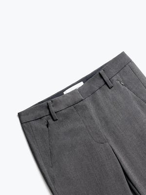 Close up of Womens Charcoal Heather Velocity Crop Pants - Front