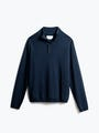 Men's Navy Atlas Merino Button Collar Front View