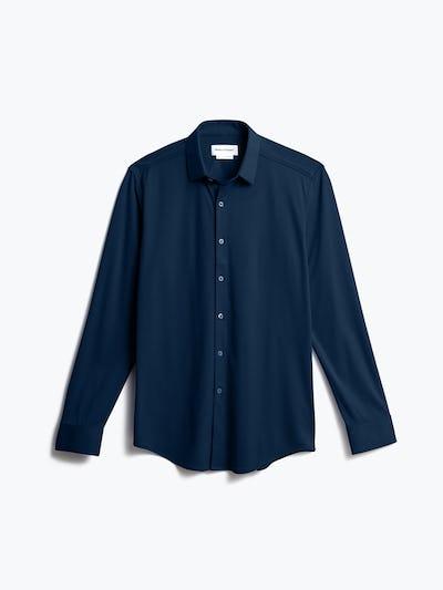 men's navy blue brushed apollo dress shirt shot of front