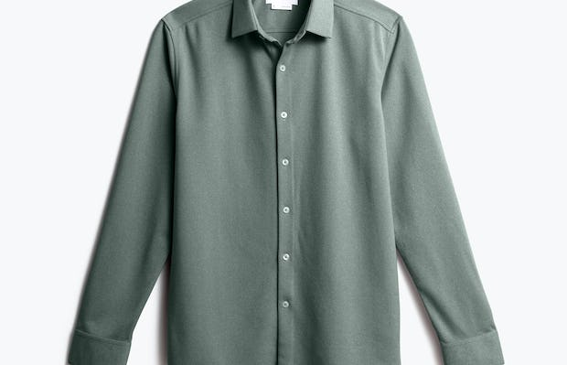 Front of Men's Apollo Dress Shirt in Olive heather